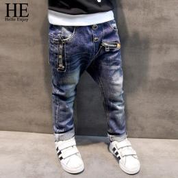 ON Hello Cieszyć spodnie jeans Chłopcy 2018 Moda Chłopców Dżinsy dla Wiosna Jesień dzieci Spodnie Jeansowe Dzieci Dark Blue zapr