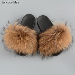 Jancoco Max 2018 New Arrival Kobiety Prawdziwe Futro Szopa Kapcie Fashion Style Lato Slajdy S60GLOves20B