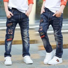 Klasyczne wiosna jesień ubrania dla dzieci niemowląt miękkie denim chłopak LUB dziewczyna jeans casual spodnie, Chłopiec łatka d