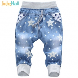 Gorąca Wyprzedaż! 2016 New Kids Jeans Elastyczny Pas Proste Niedźwiedź Wzór Siódmy Spodnie Chłopiec Detaliczna Jeansy Denim Dla
