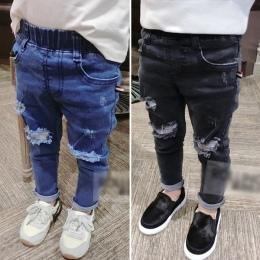 2017 Wiosna Jeansy Dla Dzieci Chłopców Dziewcząt Mody Otworów Dżinsy Dżinsy dla Chłopców Dla Dzieci Na Co Dzień Spodnie Jeansowe