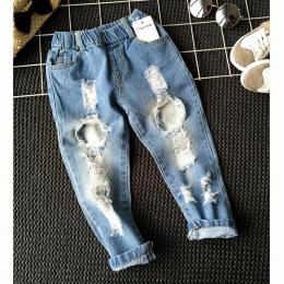 Chłopcy Dziewczyny Dziura Dżinsy Spodnie 1-6yrs Dzieci Spodnie Jesień Fashion Designer Brand Dzieci Denim Spodnie Na Co Dzień Dż