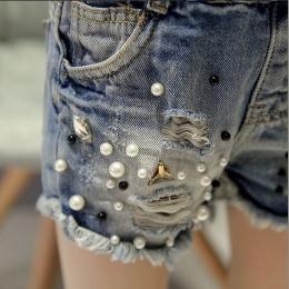 2018 wiosna lato dziewczyna spodenki jeansowe dziura perła denim pant