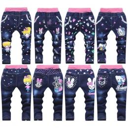 Nowa wiosna jesień dziewczynek dżinsy dzieci cartoon kitty królik spodnie kid casual spodnie detaliczny 2-5 lat darmowa wysyłka