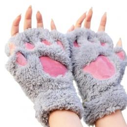 Mileegirl Panie Zimowe Rękawiczki Bez Palców, Puszyste Niedźwiedź Kot Pluszowy Paw Claw Half Finger Glove, Pół Pokrywa Kobiet Ko
