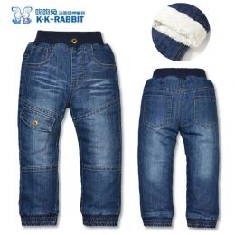 Wysoka jakość KK-KRÓLIK Grube Zimowe Moda Chłopcy Spodnie Spodnie Dla Dzieci Dzieci Dziecko Dziewczyny Dżinsy