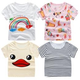 2018 Lato Girls & Boys Krótki Rękaw Koszulki Kreskówki drukuj Koszulka W Paski Koszulkę Bawełna Dziewczyny Topy Dla Dzieci odzie