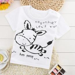 Summer Fashion Girls & Boys T Koszula Z Krótkim Rękawem 2017 nowy Miękka Bawełniana Koszula Topy Dla Dzieci Cartoon Odzież Biały