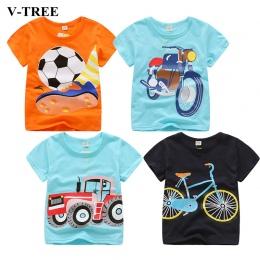 V-TREE Letnie Dziecko Chłopcy T Shirt Cartoon Samochód Druku Bawełna Topy koszulki T Shirt Dla Chłopców Dzieci Dzieci Znosić Ubr