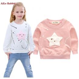AiLe Królik Nowy Dziewczynek Odzież Banner Gwiazda Dziewczyny Z Długim Rękawem T Shirt dzieci Odzież Casual Topy Koszulkę k1