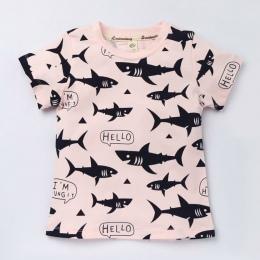 Funny Cartoon Wzór Dzieci Koszulki Dla Dziewczyn Dzieci T Shirty Dla Chłopców Z Krótkim Rękawem Topy Bluzki Dla Dzieci O-neck Ba