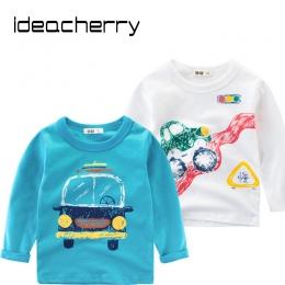 Ideacherry Marka Wiosna Dzieci Chłopcy Długie Rękawy Koszulki Bawełniane Samochód Kreskówki Koszulka Dla Dzieci Ubrania Dla Dzie