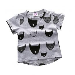 Moda Dla Dzieci T-shirt 100% Bawełna Kot Druku Krótkim Rękawem Chłopcy Dziewczyny Dziecko T-shirt