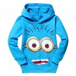 Nowy 2018 hot sprzedaż moda kreskówki z kapturem z długim rękawem bawełniane dla dzieci dla dzieci dziewczyny chłopcy dzieci blu