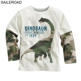 SAILEROAD Dinozaura Kreskówki Chłopcy Z Długim Rękawem T Shirt Dla 2-8Years Stare Bawełny Dzieci Dzieci Chłopcy Topy Koszulki T