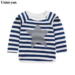 Detal Dziewczynek Topy Dzieci T shirty Z Długim Rękawem 2018 Jesień Dzieci Tee koszula Wiosna paski Marki t-shirt dzieci blusas
