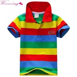 1 Sztuka Letnich Chłopców Multi Color Krótki Rękaw Paski Bawełniane Topy Boy Ubrania T Shirt Camisa 2017