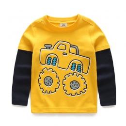 Chłopcy T-shirt Dla Dzieci Trójniki Baby Boy Dziecko Kreskówki Wiosną Dzieci Tee Długim Rękawem Szwy Bawełna Samochody Ciężarowe
