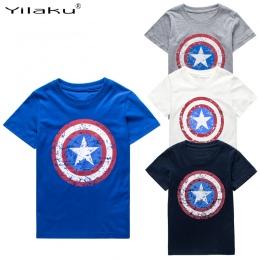 Yilaku Chłopcy T shirt Letnie Ubrania Kapitan Ameryka Topy Dzieci Koszulki Dla 1 ~ 11 Y Chłopiec Cartoon Topy Tees dzieci Odzież