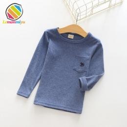 Lemonmiyu Niebieska Bawełniana Chłopiec Sweatershirts Solidna Pełna Rękawem Casual Dziewczyny Trójniki O-neck Zwierząt Kieszonko