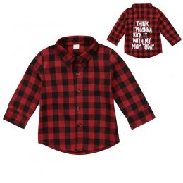 Czerwona Chusta Mody Malucha Dla Dzieci Chłopiec Dziewczyna Z Długim Rękawem Powrót List Druku Sprawdzić Blusa T-shirt Tee Topy