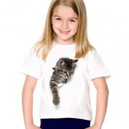 Bawełniana modna koszulka dziewczęca oryginalny wzór biała z kotkiem efekt 3D dziecięca krótki rękaw