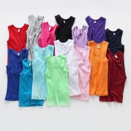 2-8 T Dzieci T Koszula Lato Styl Chłopcy Dziewczyny Ubrania Kamizelka Bawełna Dorywczo Bez Rękawów dzieci Cukierkowe Kolory Spor