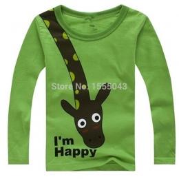 GORĄCA SPRZEDAŻ NOWE 2018 Długim Rękawem Żyrafa jestem Szczęśliwy Dla Dzieci Chłopcy Koszulka Z Długim Rękawem Top Odzież casual