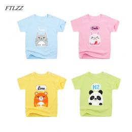 FTLZZ 2018 Letnie Dziecko Girls & Boys T Koszula Ubrania Dla Dzieci Z Krótkim Rękawem Cute Cartoon Wzór Bluzy Dziecięce Chłopiec