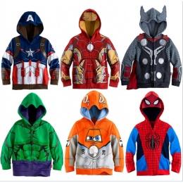 Chłopcy Bluzy Avengers Marvel Superhero Iron Man Thor Hulk Kapitan Ameryka Spiderman Bluza dla Chłopców Kid Cartoon Kurtka 3- 8