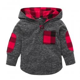 2018 Moda Kraty Szwy Maluch Kid Dziewczynka Kratę Z Kapturem Kieszeni Bluza Pullover Topy Ciepłe Ubrania Wysokiej Jakości 20