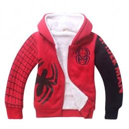 Boys Baby Spiderman Bluzy z Kapturem Z Polaru/Ciepłe Zimowe Dla Dzieci Cartoon Odzież Wierzchnia Odzież/Dzieci Spider-man Zagęśc