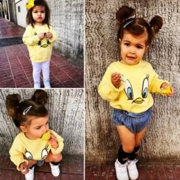 Nowy Styl Wiosna Jesień Kaczka Żółta Bluzy Dzieci Dziewczynka Chłopiec Kreskówka Luźne Góry Koszulka Bluza Casual Długi Rękaw Ub