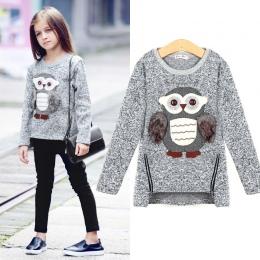 Bluza Dla Dzieci Dziewczyny Maluch Big Dziewczyny Pullover dla Zima Jesień 2018 Ubrania Cute Sowa Ciepły Polar wyłożone Zamek
