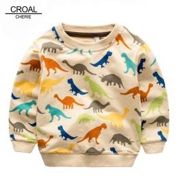 80-140 cm Kolorowe Kid Dinozaur Dla Niemowląt Dziewczyny Bluzy Dzieci Chłopcy Bluzy Zwierząt Bawełna Dzieci Chłopcy Koszulka Z D