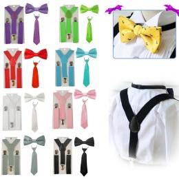 2018 nowych Moda Chłopcy Dziewczęta dzieci Regulowane Elastyczne Y Powrót Szelki Szelki Dla Dzieci Zestaw Muszka motyl Krawat Śl