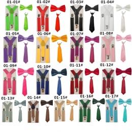 Moda 3 sztuk Szkoła Chłopcy dziewczyny Dzieci Dzieci brace elastyczne Szelki do koszuli suspensorio Krawat Muszki motyl Krawat Z