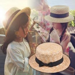 2018 Słodkie Dziecko Dziewczyny kapelusz Słomkowy Bowknot Kapelusz Słońce Dla Dzieci Duże Rondo Plaża Lato Boater Plaża Wstążka