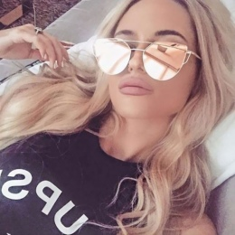 2018 Cat Eye vintage Marka projektant rose gold mirror Okulary Dla Kobiet Metal Odblaskowe flat lens Okulary Kobieta óculos