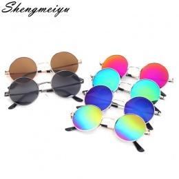 2017 New Vintage Poliwęglan soczewki UV400 Okulary dziecko Chłopcy/Dziewczyny Gafas Książę lustro Okrągłe Aluminiowe ramki Ropuc