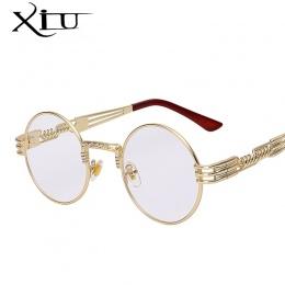 Gothic Steampunk Okulary Mężczyźni Kobiety Metal WrapEyeglasses Okrągły Odcienie Marka Projektant okulary Słoneczne Lustro Wysok