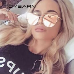 TOYEARN Mody Rocznika Panie Okulary Cat Eye Kobiety Mężczyźni Projektant Marki Złota Róża Twin-Beam Lustrzane Okulary Przeciwsło