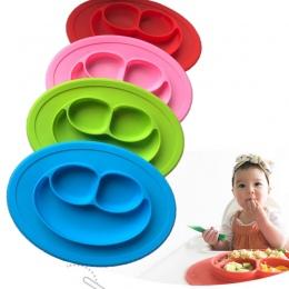 Materiał silikonowy Dla Dziecka Jadalnia Płyta Zdrowia Piękny Uśmiech na Twarzy Obiad Naczynia Kuchenne Owoce Miska Dania Dzieci