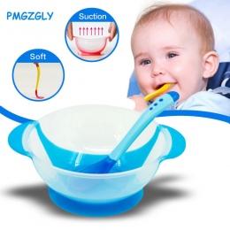 Naczynia stołowe dziecko nauki dla dzieci z ssania cup assist żywności łyżka karmienia dziecka miska miska temperature sensing
