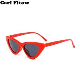 Śliczne sexy retro okulary cat eye kobiety mały czarny biały 2018 trójkąt rocznika tanie okulary czerwony kobiet uv400