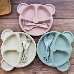 Dziecko miska + łyżka + widelec Karmienia Żywności Stołowe Cartoon Panda Dzieci Dania Dziecko Jedzenia Zestaw Obiadowy Anti-hot