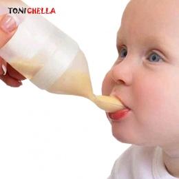 Silikon Dziecko Karmienie Butelką Z Łyżeczką Squeeze Butelki Dziecko Łyżka Żel krzemionkowy Suplementem Żywności Ryżu Zbóż Łyżka