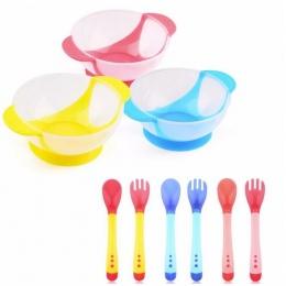 Gorąca sprzedaż 1 zestaw/3 sztuk dziecko łyżka dania miska nauka z ssania cup assist food bowl temperature sensing zastawa stoło