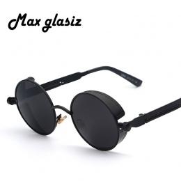 Maxglasiz Brand new 2018 Lustro Obiektyw Okrągłe Okulary Gogle Steampunk Okulary Przeciwsłoneczne W Stylu Vintage Retro Okulary