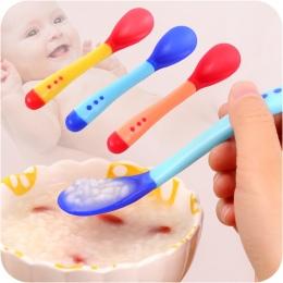 1 zestaw Dziecko Pomiaru Temperatury Łyżka i Widelec, Bezpieczeństwa Silikonowe Karmienie Sztućce Podajnik Dziecko Naczynia Karm
